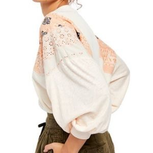 Free People Feelin It Embroidered Boho Top Blush S